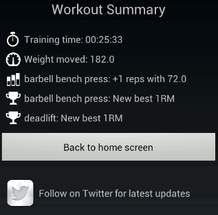 New workout summary screen