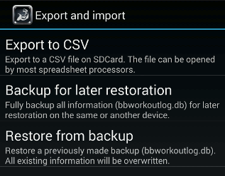 Export and import options