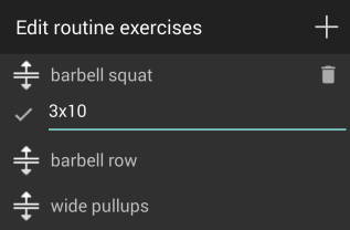 Routine exercise comments
