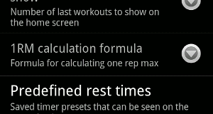 Customizable Workout Journal screenshot